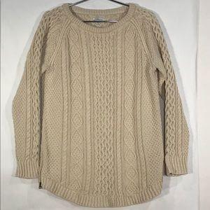 LL Bean Signature Fisherman's Cotton Sweater Cream